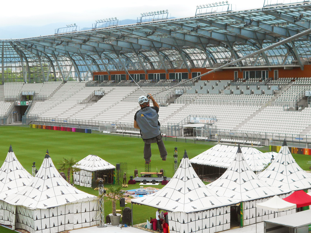 Grand Stade in Lyon - VERTIC's BATILIGNE horizontal lifeline system